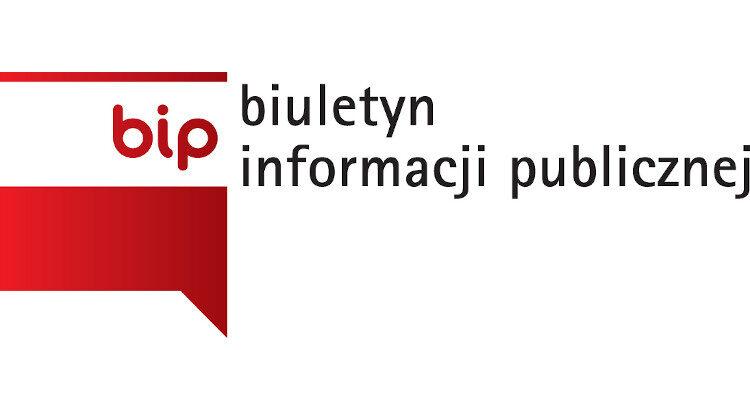Po lewej flaga z napisem bip. Po prawej rozwinięcie skrótu: biuletyn infomacji publicznej.